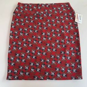 LuLaRoe Womens Cassie Pencil Skirt Red Floral 3XL